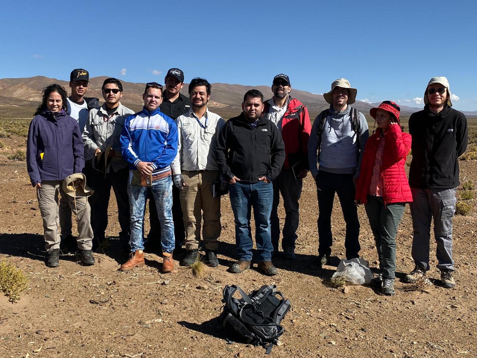 Participantes no curso de metalogenia na visita à mina de Chinchillas (Pb-Zn-Ag)
