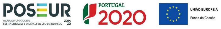 Logos POSEUR, Portugal 2020 e União Europeia - Fundo de Coesão